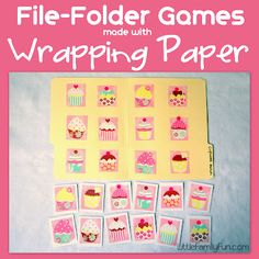 Make your own File Folder Games using wrapping paper famili fun, wrap paper, file folder games, family fun games, kid games, families, file folder activities, filefold game, file folders