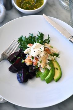 Crab Salad with Avocado, Roasted Beets, Crème Fraîche and Lime by kitchenculinaire #Salad #Crab #Avocado #Beets #Healthy