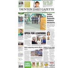 The front page of the Taunton Daily Gazette for Saturday, Aug. 2, 2014.