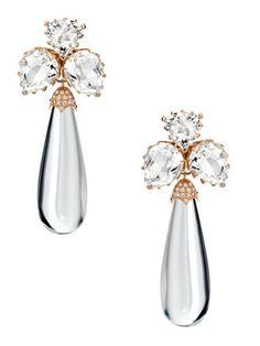 Ivanka Trump Rose Gold & Rock Crystal Cluster Drop Earrings