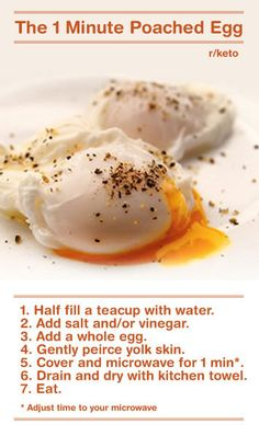 Perfect Poached Egg via.imgur: Timing is critical. #Egg #Poached_Egg #MIcrowave