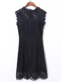 Black Sleeveless Lace 3081 sheinsid, bodycon dress, amaz dress, sleeveless lace, sheinsid black, lace bow, bows, dress 3081sheinsid, black sleeveless