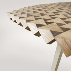 ATLAS dining table rotated by 45 degrees on two axis and planed.  Geo wood.. .what is not to like.