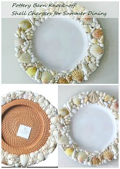 DIY ● Tutorial ● Pottery Barn Knockoff Shell Chargers   #beach wedding ... Wedding ideas for brides, grooms, parents & planners ... https://itunes.apple.com/us/app/the-gold-wedding-planner/id498112599?ls=1=8 … plus how to organise an entire wedding ♥ The Gold Wedding Planner iPhone App ♥