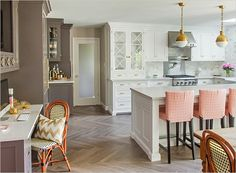 wall colors, floor, chairs, brass, bar stools, caitlin wilson, white cabinets, wilson kitchen, kitchen designs