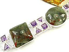 Wide Bloodstone Silver Bracelet with Amethyst quartz