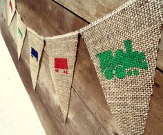 Train Birthday Stenciled Burlap Banner / Photography Prop by nhayesdesigns, $19.00
