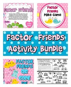 ($) Factor Friends Activity Bundle - This title bundles together four individual, engaging activities to help students practice finding factors of numbers.