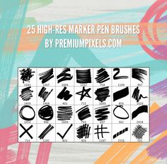 25 High Resolution Marker Pen Brushes