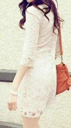 White Round Neck Lace Embroidery Dress - Sheinside.com