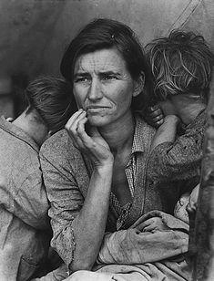 Destitute pea pickers in California. Mother of seven children. Dorthea Lange