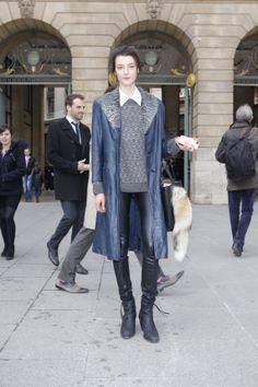 blue coat vs leather pants great  FOLLOW ME : c-raze.blogspot.be/ OR www.facebook.com/... #vintage #trends #crazecolumn #fashion #style #fashionblog #edge #feminine #retro #outfits