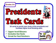 FREE Presidents Fact and Activity Task Cards.