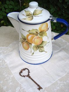 Vintage Enamelware Hand Painted Coffee Pot by SecretGardenHerbs, $21.00