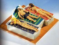 Suntanning naughty cake