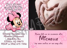 Minnie Mouse Baby shower Invitation by EqPartyInvitations on Etsy, $12.00
