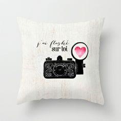 J'ai flashé sur toi Throw Pillow by Crea Bisontine - $20.00