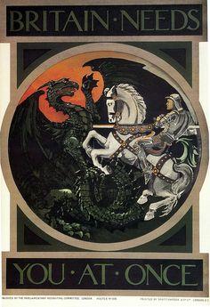 British WWI art nouveau propaganda poster.