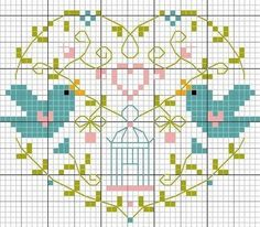 Handmade NL: Weekend, borduurpatroon vogeltjes stitch heart, aux oiseaux, crossstitch bird, bordado, cross stitch charts, birds, cross stitches, crossstitchpunto croce, embroideri