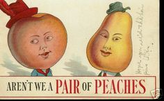 "Actually you are NOT a ""pair of peaches"" but in fact one peach and one pear in strange little hats."