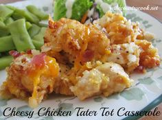Cheesy Chicken Tater Tot Casserole {Slow Cooker} Recipe