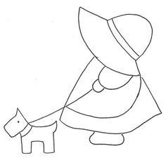Sunbonnet Sue e cão by Moldes e Riscos, via Flickr
