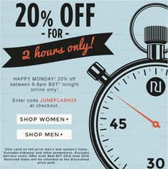 20% off for two hour