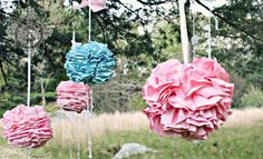 BIG Poofy Hanging Flowers from Frugal Girls. little girl birthday, paper hanging decorations, hanging flowers, girls birthday parties, diy idea, flower tutorial, make flowers, flower fairies party, baby showers