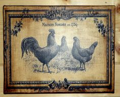 French Country ROOSTER and CHICKEN 8 X 10 by JezebelTreasures