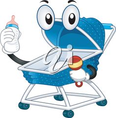 iCLIPART - Royalty Free Clipart Image of a Baby Buggy Holding a Bottle and Rattle