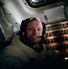 A teary-eyed Neil Armstrong photographed by Buzz Aldrin just moments after being the first person to ever step foot on the moon.