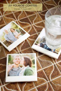 DIY Polaroid Coasters /