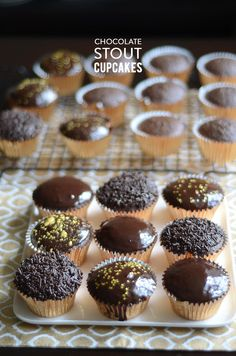 Chocolate stout cupcakes with dark chocolate ganache.
