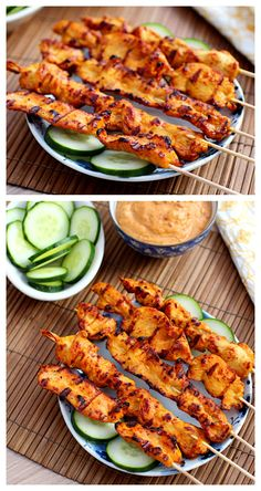 Thai chicken sate with peanut sauce. Make these at home with this easy recipe--much cheaper, delicious, and you can have as many sticks as you want!
