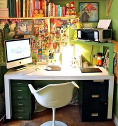 office spaces, desk space, mini office, office printer, raised desk, home offices, workspac, craft rooms