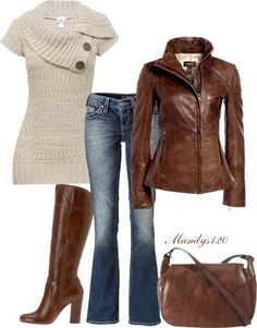 """Brown Leather"" by mandys120 ❤ liked on Polyvore"