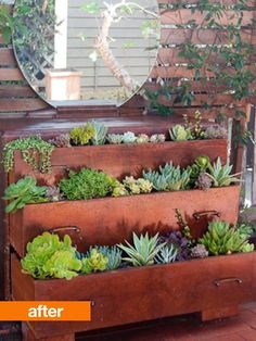 How cool is this repurposed dresser as a planter? drill drain holes