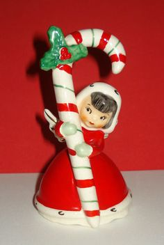 VINTAGE NAPCO CHRISTMAS ANGEL GIRL BELL FIGURINE w CANDY CANE CERAMIC 1956 JAPAN | eBay