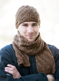 Cambridge Hat and Scarf - from the Fall 2014 Issue of Love of Crochet magazine  Keep the guy in your life warm with this cozy hat and scarf. Double crochet post stitches combined with soft tweed give this set a texture that looks as plush as it feels.
