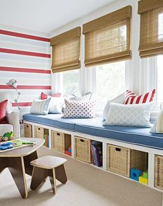 Playroom window seat with storage