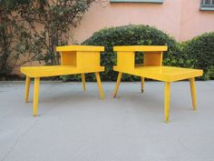 Pair of Mid Century Modern Tiered Rectangular End Tables or Nightstands by HouseCandyLA, $125.00