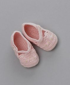 Pink Crocheted Mary Jane Booties