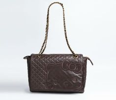Hello Kitty Real Leather Shoulder Bag: Brown Quilt