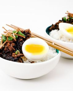 chinese meat sauce and rice recipe - www.iamafoodblog.com #taiwanese #meatsauce #rice #recipe #chinese #eggs