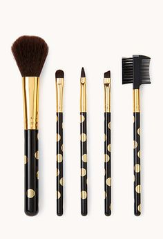 Metallic Polka Dot Cosmetic Brush Set | FOREVER21 - 1000108055
