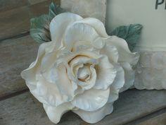 ~~ Vintage Pearl White Rose ~~ Handmade - Cold Porcelain https://www.facebook.com/www.myshabbypaperroses.nl