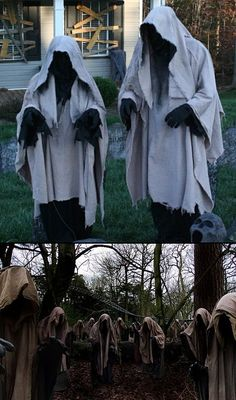 So scay! About 5 of these in the woods between the bone yard and the coop. Chicken wire over PVC, then drape with canvas and/or burlap? Spook Group Costume for Haunted House