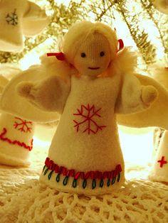 felt angel Christmas ornament or table decor
