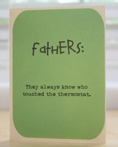 Father's Day card - Thanks Dad - humorous Father's Day - funny - temperature humor on Etsy, $4.50