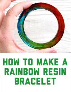 Make a rainbow bracelet with resin.